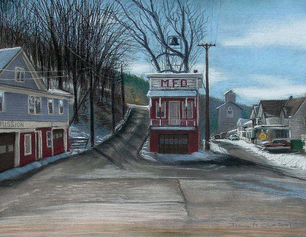 Firehouse Art Print featuring the painting Route 6 Meshoppen Pa by John Clum