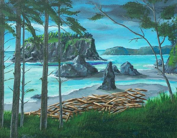 Stormy Ocean Art Print featuring the painting Ruby Beach by Gene Ritchhart