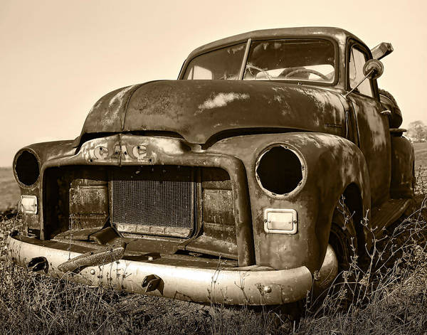 Vintage Art Print featuring the photograph Rusty But Trusty Old Gmc Pickup Truck - Sepia by Gordon Dean II