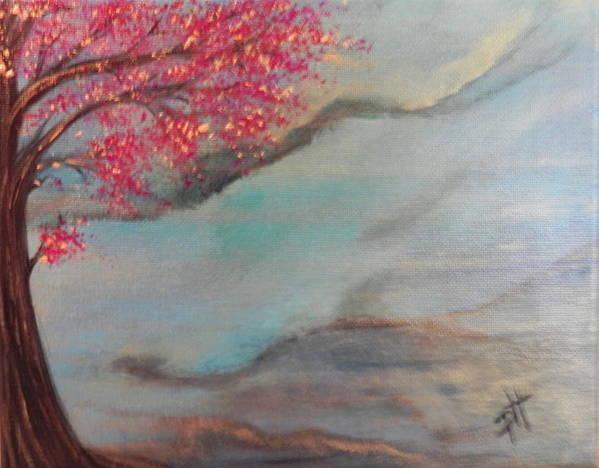 Cherry Blossom Art Print featuring the painting Sakura by Patti Spires Hamilton