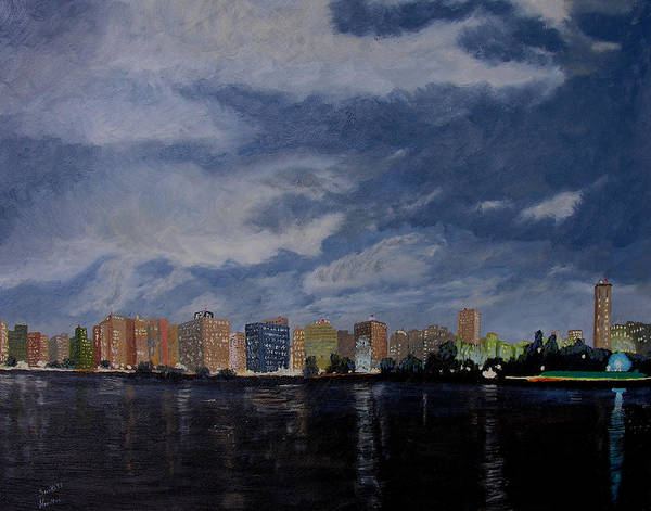 San Wan Art Print featuring the painting San Wan At Night by Stan Hamilton
