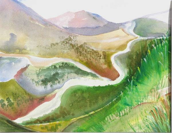 Landscape Art Print featuring the painting Scottish Glen by Kathy Mitchell