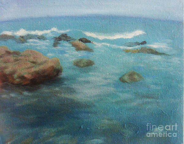 Ocean Art Print featuring the painting sea by Teenu Jacob
