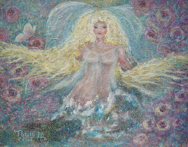 Angel Art Print featuring the painting Secret Garden Angel 3 by Natalie Holland