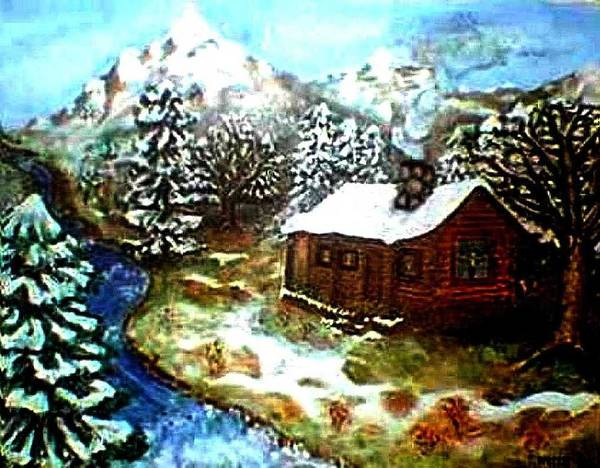 Landscape Art Print featuring the painting Serenity Cabin by Tanna Lee M Wells