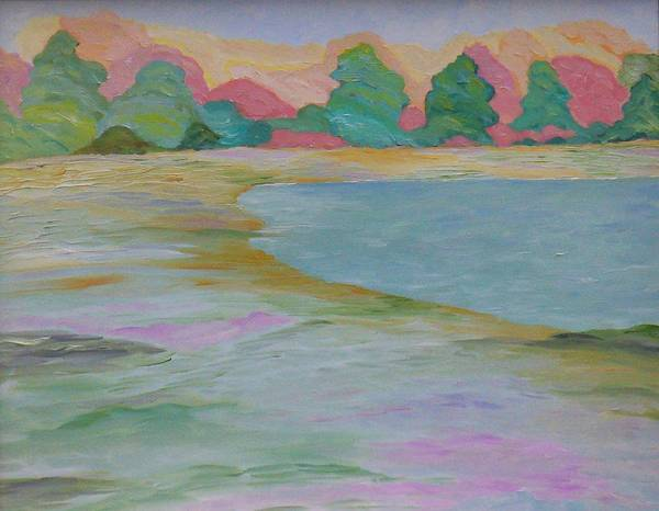 Lake Art Print featuring the painting Serinity by Cary Singewald