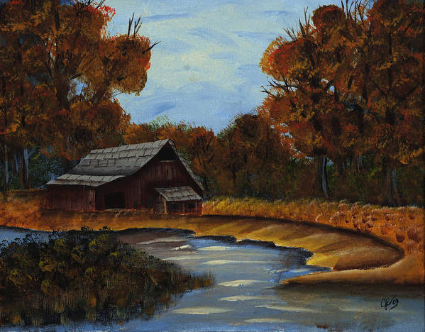 Landscapes Art Print featuring the painting Shades Of Fall by Julia Ellis