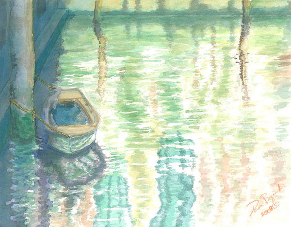 Boat Art Print featuring the painting Shadows And Reflections by Dan Bozich