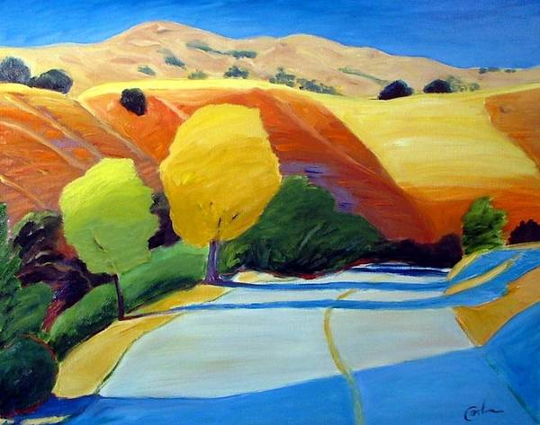 Road Art Print featuring the painting Shadows On Metcalf Road by Gary Coleman