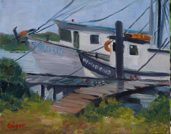 Workboats Art Print featuring the painting Shrimpboat Docks At St. Augustine Port by Pamela Geiger