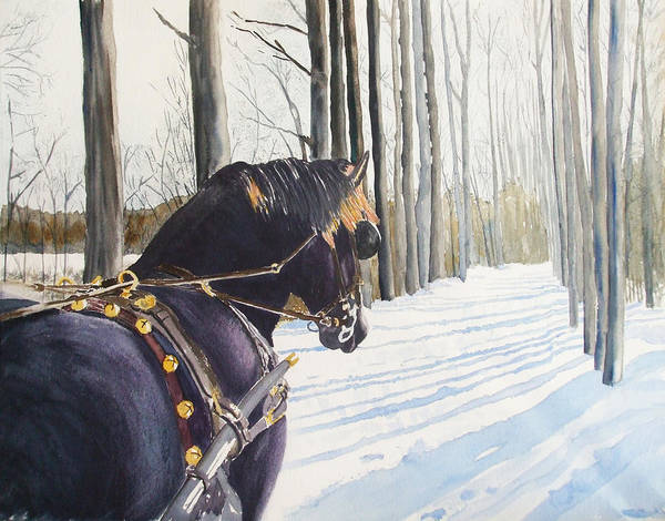 Horse Art Print featuring the painting Sleigh Bells by Ally Benbrook