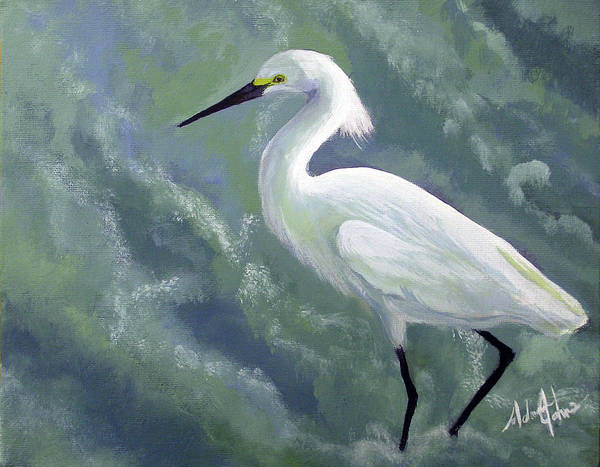 Egret Art Print featuring the painting Snowy Egret In Water by Adam Johnson