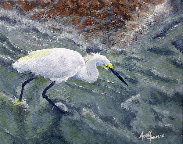 Egret Art Print featuring the painting Snowy Egret Near Jetty Rock by Adam Johnson