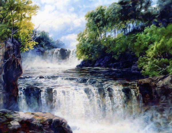 Softly Fall The Swallow Falls Art Print featuring the painting Softly Fall The Swallow Falls by Georgiana Romanovna