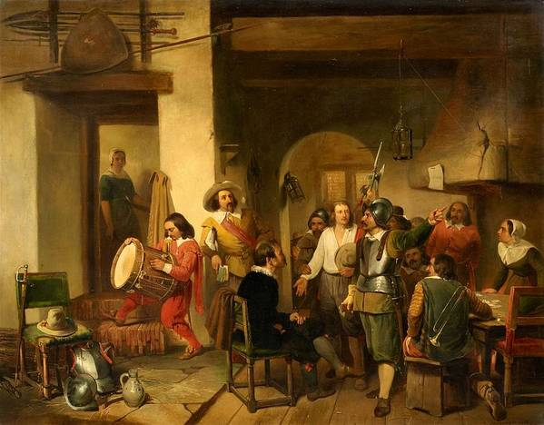 Reinier Craeyvanger Art Print featuring the painting Soldiers In A Tavern During The Thirty Years by Reinier Craeyvanger