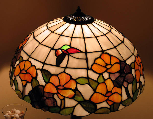 Stained Glass Art Art Print featuring the photograph Stained-glass Lampshade by Suhas Tavkar