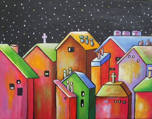 Landscape Art Print featuring the painting Starry Night In The Little City 1 by Janet Telander