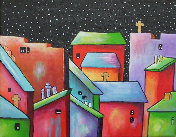 Landscape Art Print featuring the painting Starry Night In The Little City 2 by Janet Telander