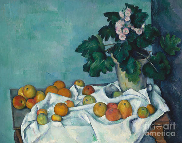 Monet Art Print featuring the painting Still Life With Apples And A Pot Of Primroses, 1890 by Claude Monet