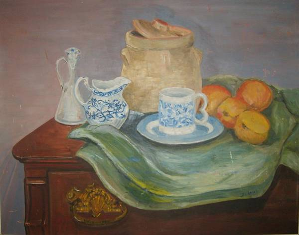Still Life Peaches Cookie Jar Bureau Art Print featuring the painting Still Life With Peaches by Joseph Sandora Jr