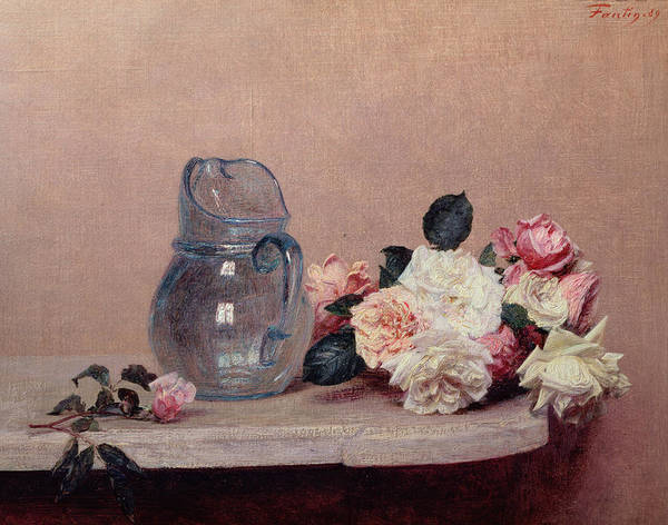 Glass Jug; Ledge Art Print featuring the painting Still Life With Roses by Ignace Henri Jean Fantin-Latour