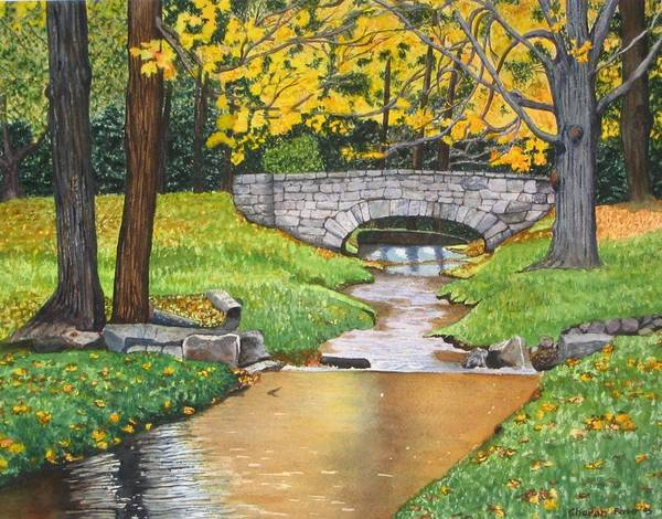 Landscape Art Print featuring the painting Stone Bridge by Sharon Farber