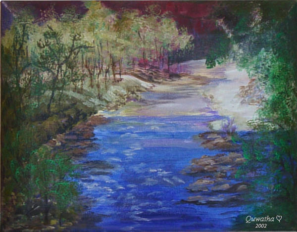 River Art Print featuring the painting Stream At Yosemite by Quwatha Valentine
