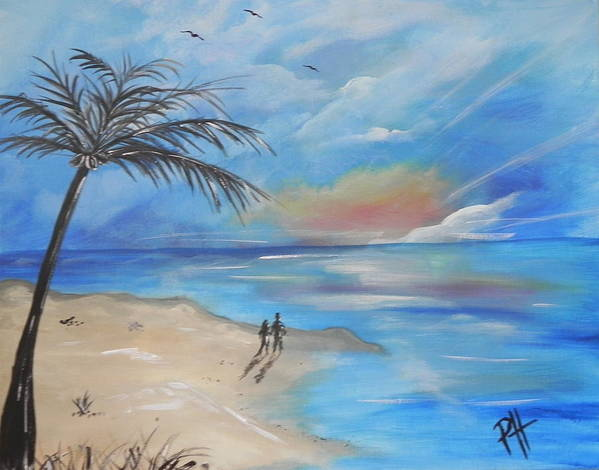 Sea Art Print featuring the painting Stroll by Patti Spires Hamilton