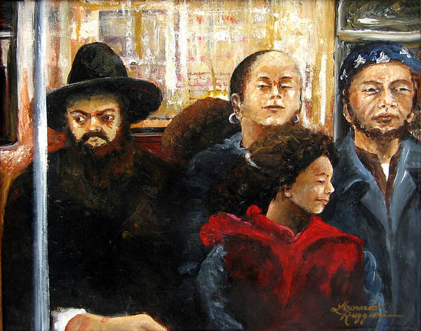 Ny City Art Print featuring the painting Subway Diversity by Leonardo Ruggieri