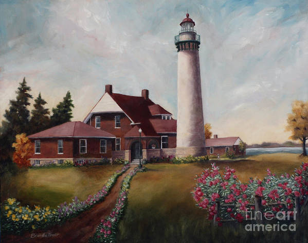 Lighthouse Nautical Building Structure Oil Painting Canvas Original Lake Michigan Flowers Art Print featuring the painting Suel Choix Light by Brenda Thour