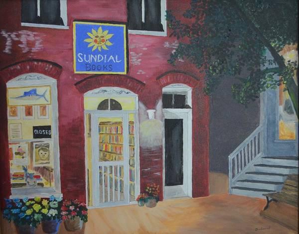 Chincoteague Island Art Print featuring the painting Sundail Books, Chincoteague Island, Va by Ed Schamel