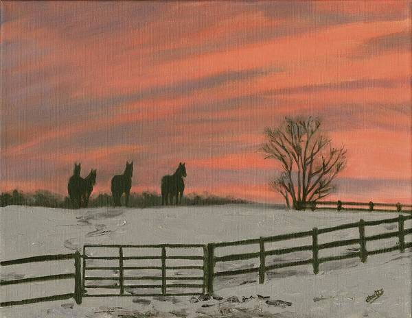 Sunrise Art Print featuring the painting Sunrise Silhouettes by Deborah Butts