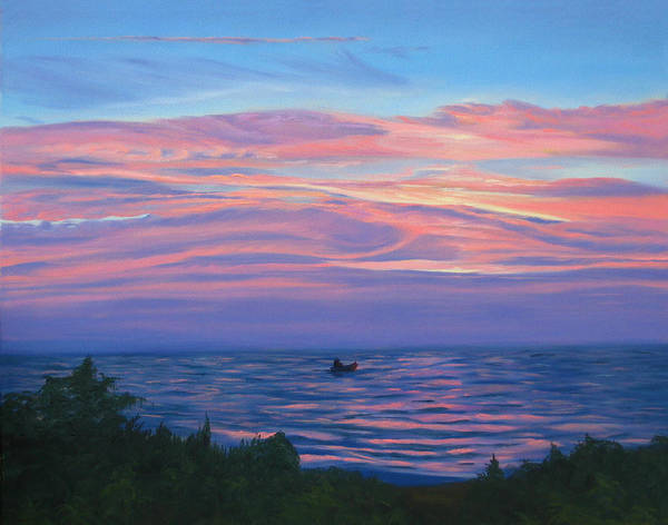 Seascape Art Print featuring the painting Sunset Bay by Lea Novak