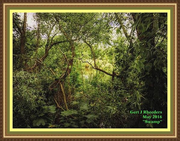 Swamp Art Print featuring the painting Swamp L A With Decorative Ornate Printed Frame. by Gert J Rheeders