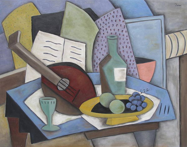 Still Life Art Print featuring the painting Table With Mandolin by Trish Toro