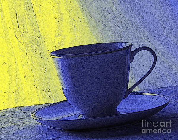 Blue Art Print featuring the digital art Teacup by Jacqueline Milner