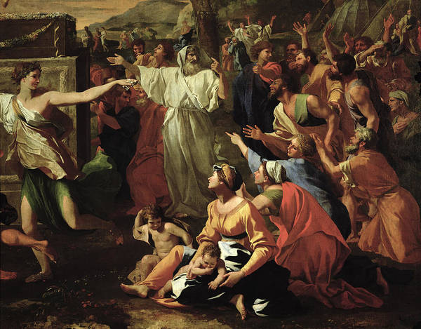 The Art Print featuring the painting The Adoration Of The Golden Calf by Nicolas Poussin