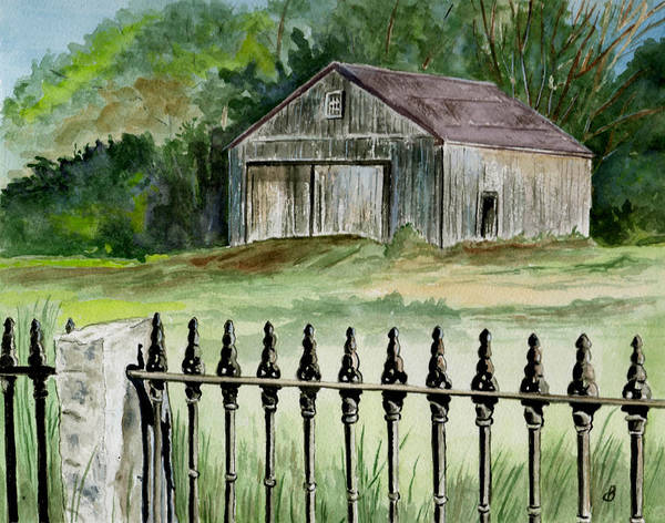 Landscape Art Print featuring the painting The Barn At Parsonsfield Maine by Brenda Owen