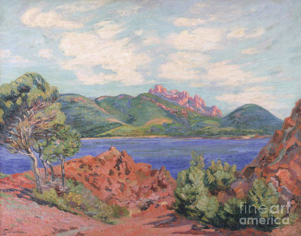 The Print featuring the painting The Bay Of Agay by Jean Baptiste Armand Guillaumin