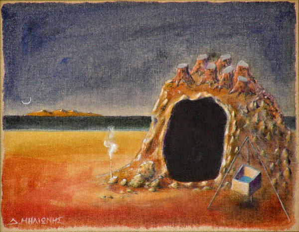 Metaphysacal Art Print featuring the painting The Cave Of Orpheas by Dimitris Milionis
