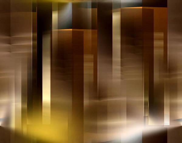 Abstract Art Print featuring the digital art The City At Night 2 by John Krakora