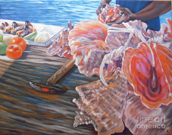Bahamas Art Print featuring the painting The Conchman by Danielle Perry