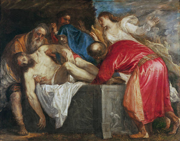 The Print featuring the painting The Entombment Of Christ by Titian