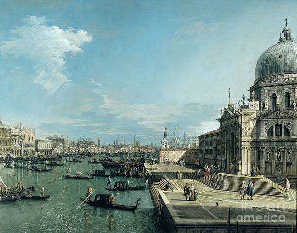 The Art Print featuring the painting The Entrance To The Grand Canal And The Church Of Santa Maria Della Salute by Canaletto