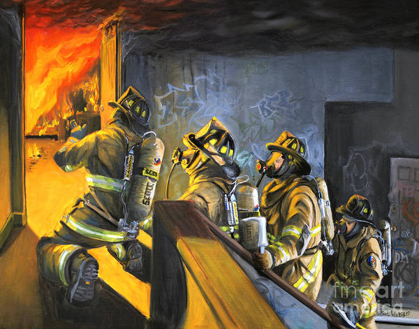 Firefighters Art Print featuring the painting The Fire Floor by Paul Walsh