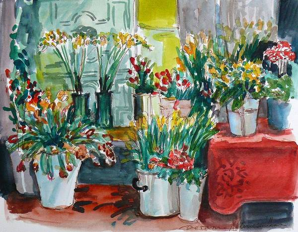 Interior Art Print featuring the painting The Flower Shop by Doranne Alden