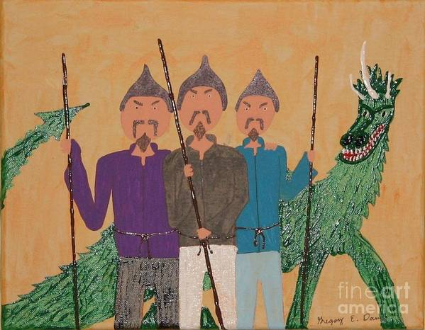 Dragon Art Print featuring the painting The Fu Man Brothers by Gregory Davis