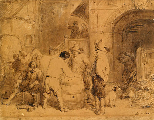 Jean Baptiste Madou Art Print featuring the drawing The Gamblers by Jean Baptiste Madou