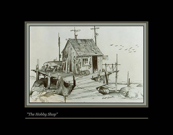 Pencil Drawing Landscape Seascape Fishing Shack Bait Shop Art Print featuring the drawing The Hobby Shop by Walt Green