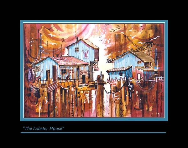 Landscape With Weird Assortment Of Restaurant Structures. Art Print featuring the painting The Lobster House by Walt Green